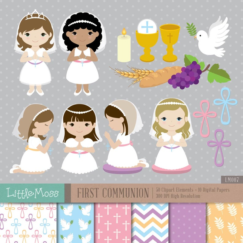 Girl First Communion Digital Clipart and Papers, Communion Girl Clipart,  Communion Clipart.