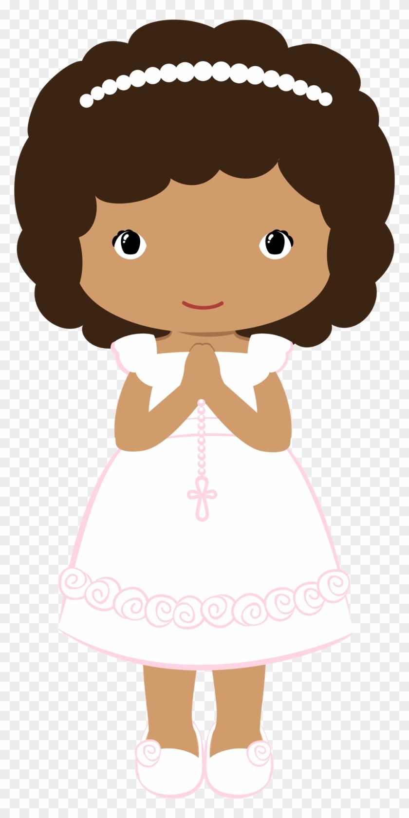 Girls In Their First Communion Clip Art.
