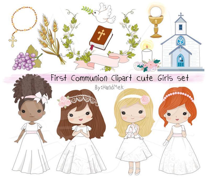 Communion Girls clipart set Instant Download.
