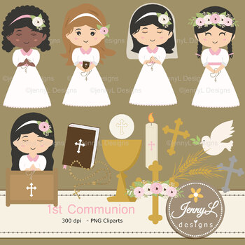 1st Communion Girl Digital Papers and Bible, Chalice clipart.