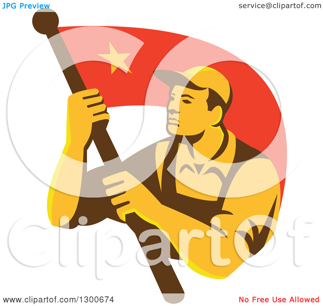 Clipart of a Retro Chinese Communist Worker Waving a Flag.