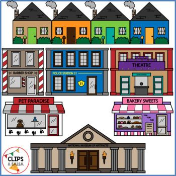 Community Buildings Clip Art for Digital & Paper Resources.