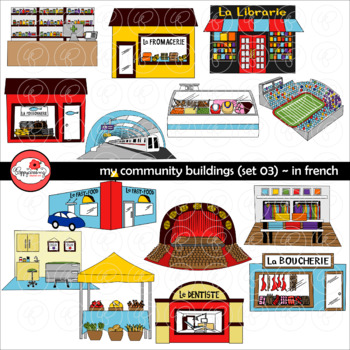My Community Buildings Set 03 in FRENCH Clipart by Poppydreamz.