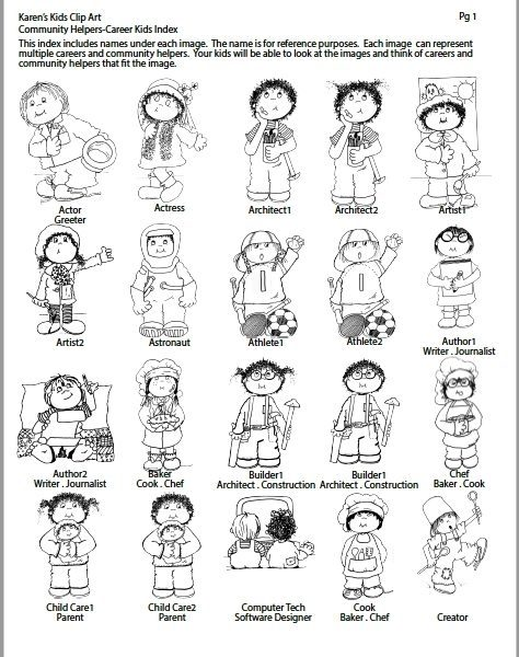 Community Helpers Clipart Black And White.