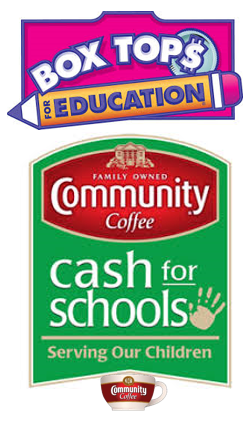 Box Tops and Community Coffee Labels.