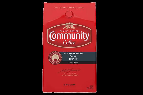 32 oz. Ground Signature Blend Dark Roast Coffee.