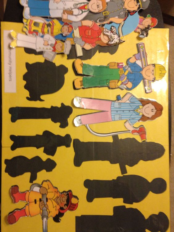 Community Helpers. Shadow matching game! Clip art from Home School.