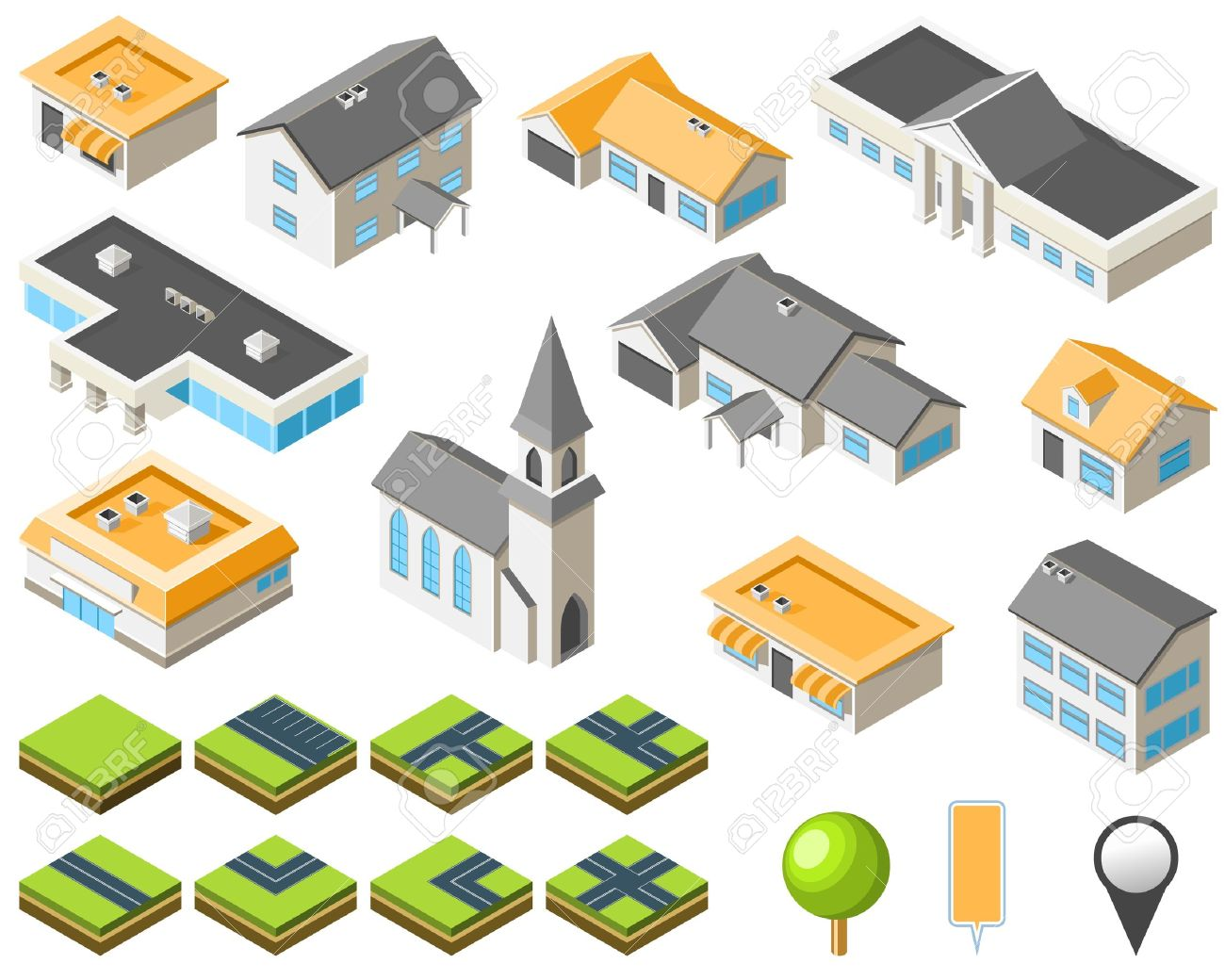 Suburban Community Isometric City Kit Royalty Free Cliparts.