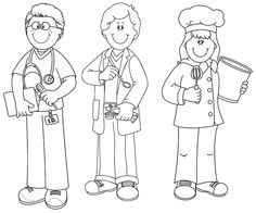 community helpers black and white clipart #16