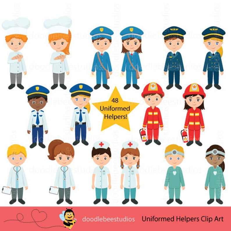 Community Helpers Clipart, Community Clipart,Career Day Clipart,Career Clip  Art, Occupation Clipart, Jobs Clipart, Uniformed Helpers Clipart.