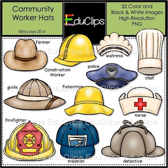 Community Worker Hats Clip Art Bundle.