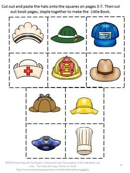 Community Helpers Worksheets, Whose Hat Is It? Sorting Activities.