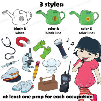 Community Helpers Clip Art with Props.