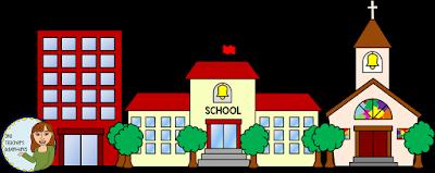 One Teacher's Adventures: Community Buildings Clip Art Set.