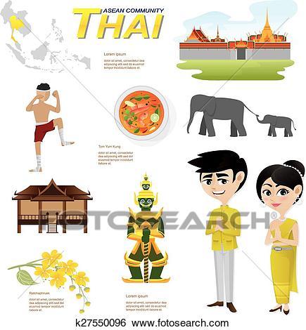 Cartoon infographic of thailand asean community. Clip Art.