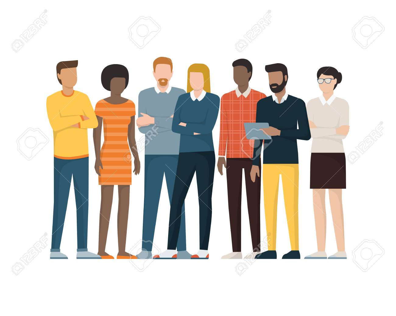 Multiethnic group of people standing together, community and...