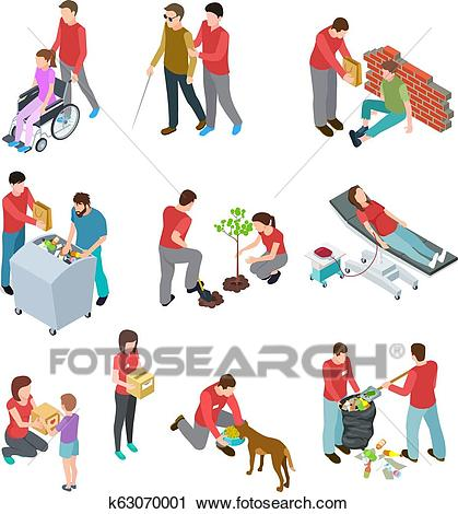 Volunteers isometric set. People caring homeless and diseased elderly.  Social community service, charity humanitarian vector concept Clipart.