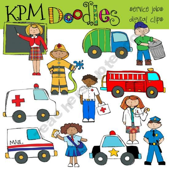 COMBO Community Service clip art and black line stamps.