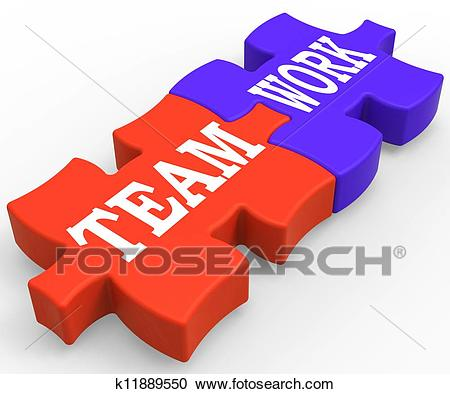 Teamwork Shows Community Working Together Clipart.