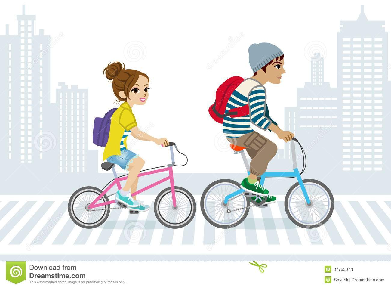 Couple Commute By Bicycle,in City Life Stock Images.