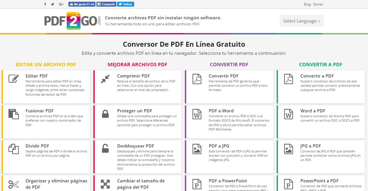 Convertir imágenes a PDF.