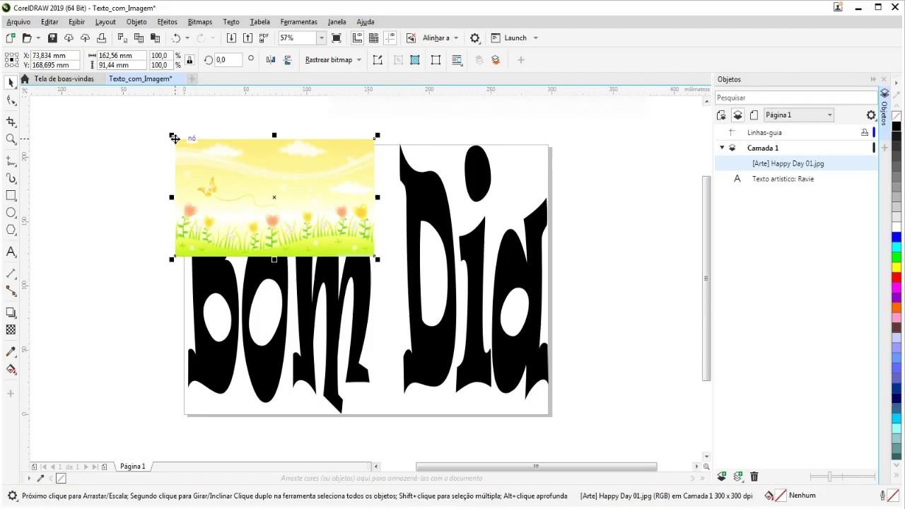[Guia] Como criar Texto com Imagem Simples no Coreldraw.