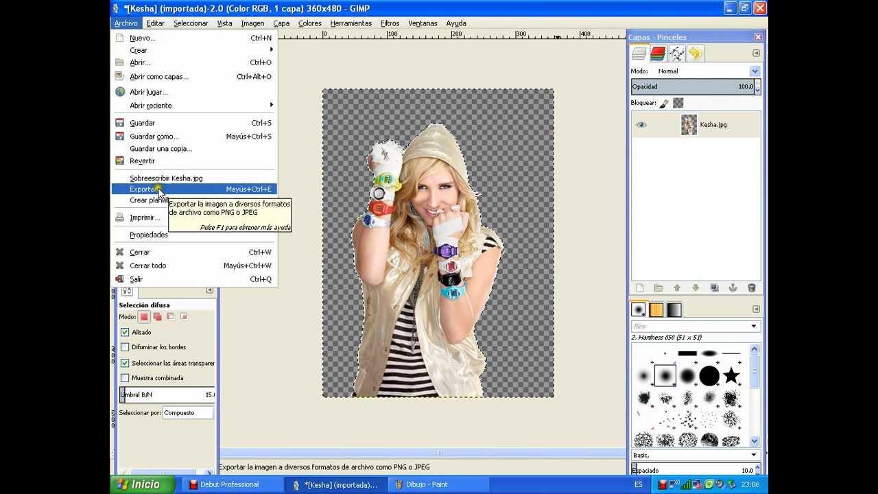 Como hacer una imagen png con Gimp 2.