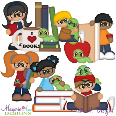 Bookworm SVG Cutting Files + Clipart.