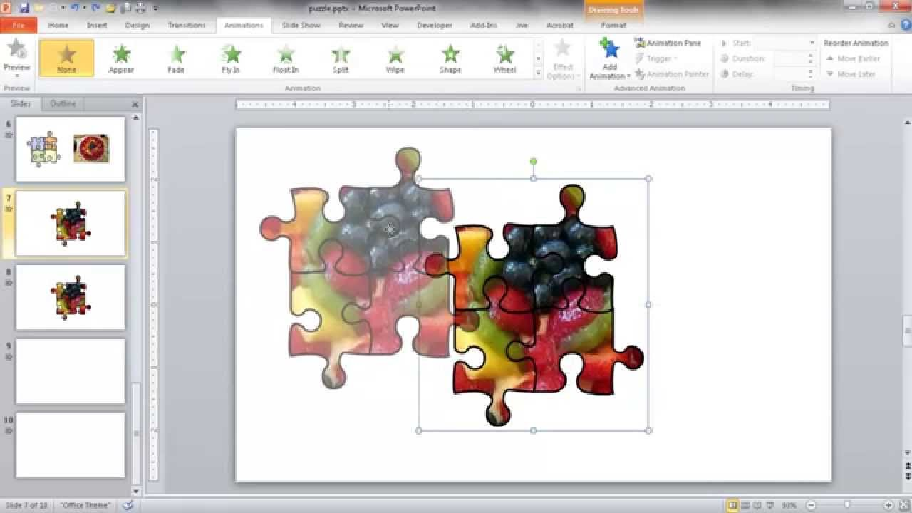 Create a JigSaw Puzzle Image in PowerPoint.