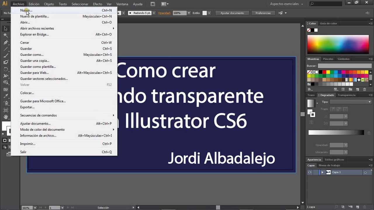 Crear un fondo transparente con Illustrator.