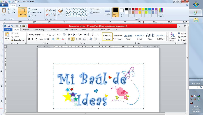 Crear un logotipo en Word y Paint.