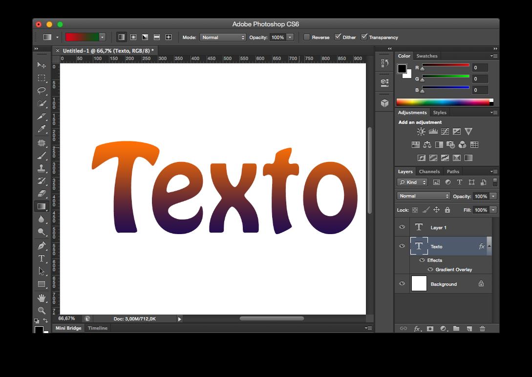 Cómo crear degradado de color en letras con Photoshop.