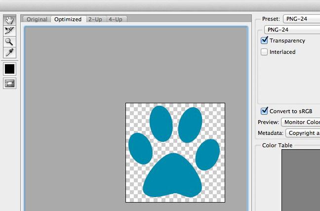 Crear favicon con fondo transparente en Photoshop.