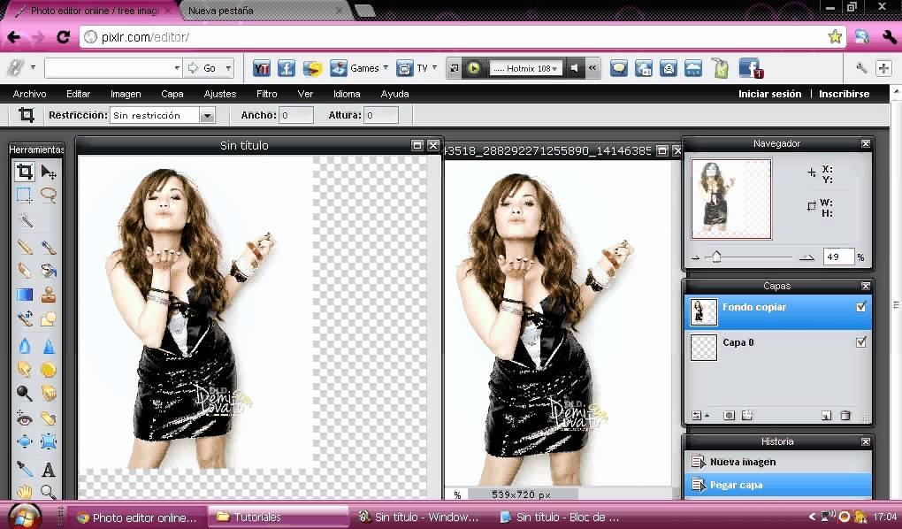 Como hacer una foto PNG en Pixlr.