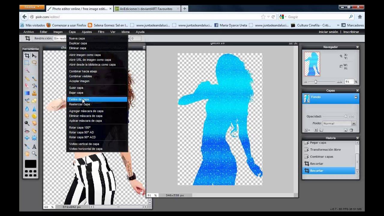 Como hacer una silueta png en Pixlr.com.