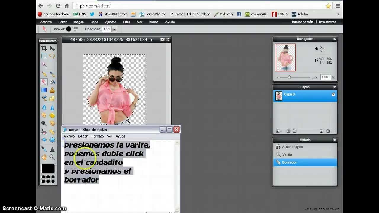Como hacer una imagen png( fondo transparente) en pixlr.