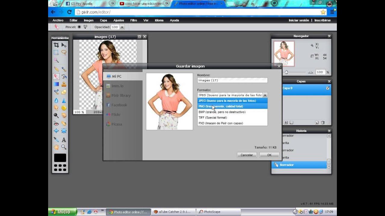 Como Hacer Una Imagen png en photo editor online.