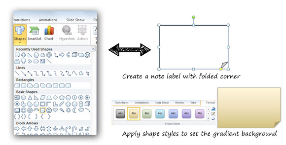 Create a 3M Post IT in PowerPoint using shapes and styles.