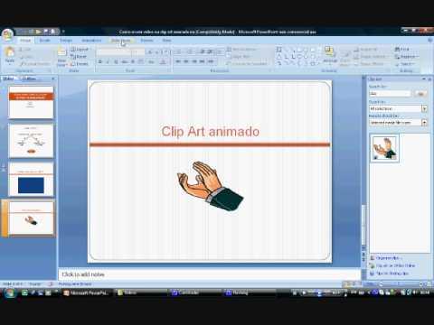 Como inserir vídeo ou clip art na apresentação de powerpoint.