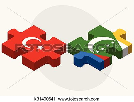 Clipart of Turkey and Comoros Flags k31490641.