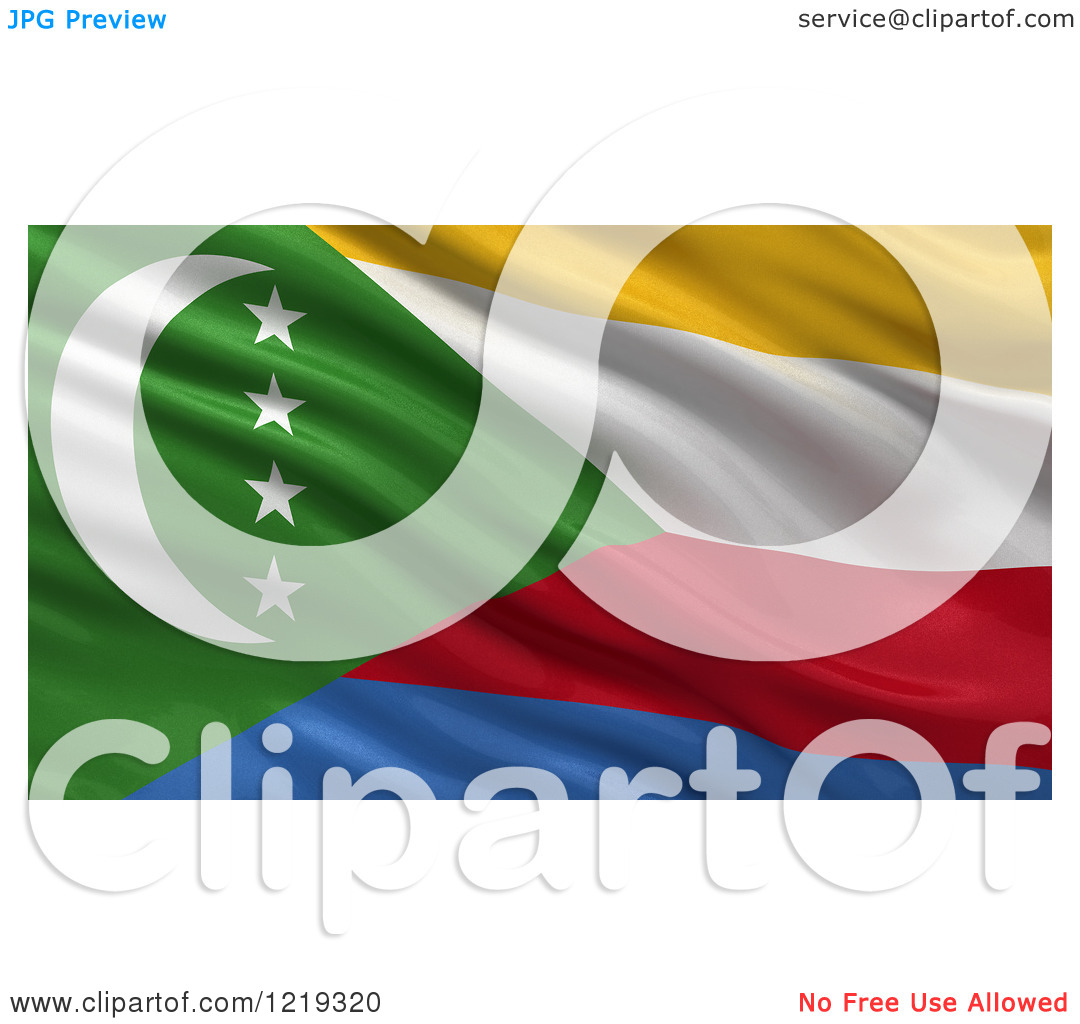 Clipart of a 3d Waving Flag of Comoros with Rippled Fabric.