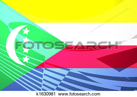 Clipart of Flag of Comoros air travel illustration k1630981.
