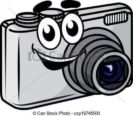 Vector Clipart of Cute little cartoon compact camera.