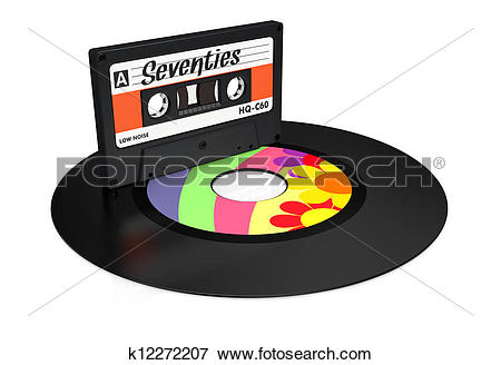 Stock Illustration of vinyl record and compact cassette k12272207.