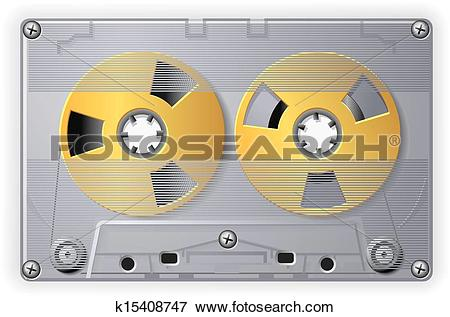 Clip Art of Analog Audio Compact Cassette with tape vector.