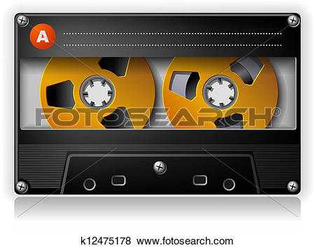 Clip Art of Analog Music Stereo Audio Compact Cassette k12475178.