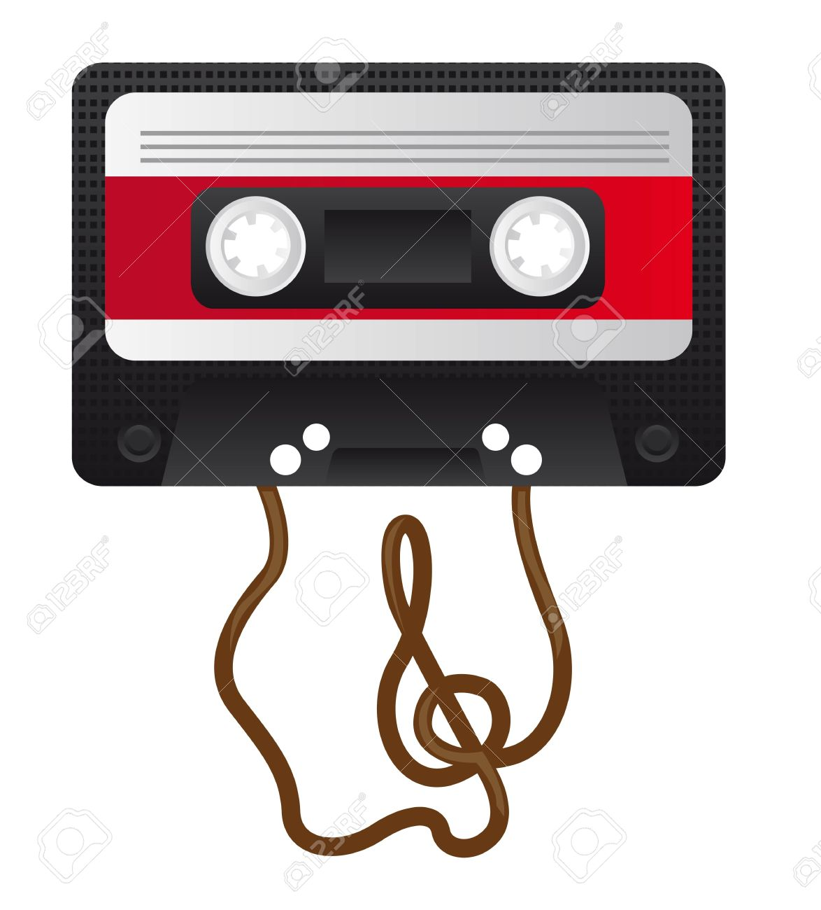 Retro Audio Cassette With The Treble Clef On The Tape Royalty Free.
