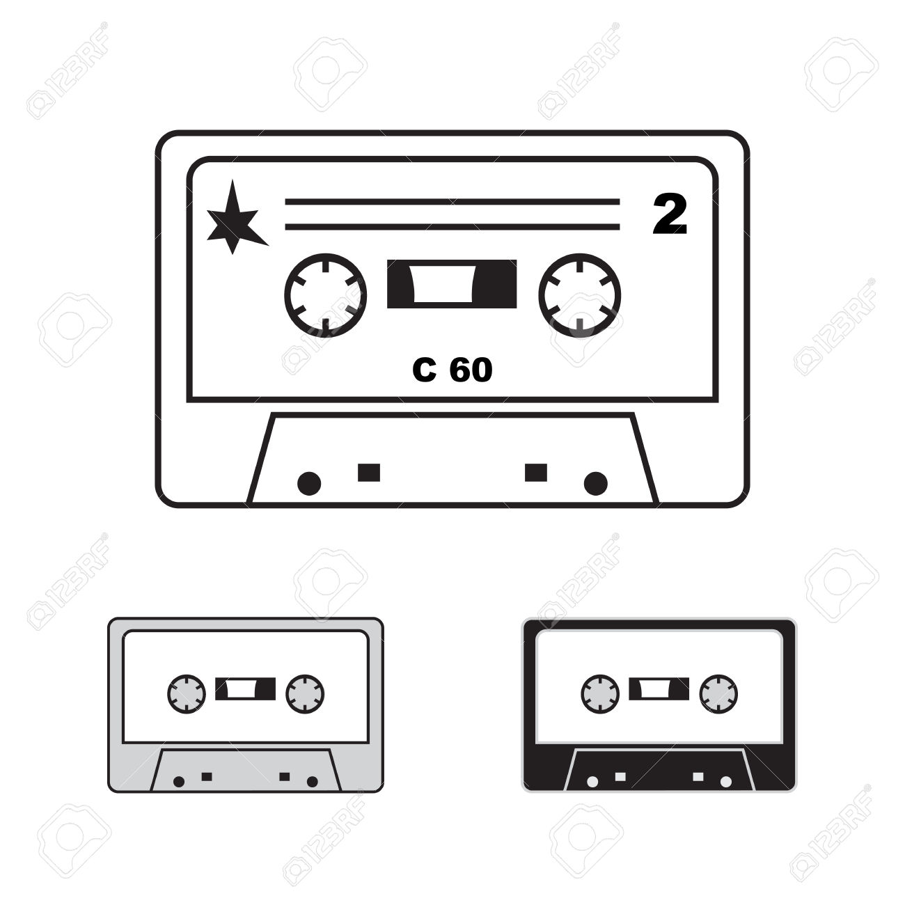 Vector Audiocassettes Isolated. 90s Illistration, Compact Cassette.