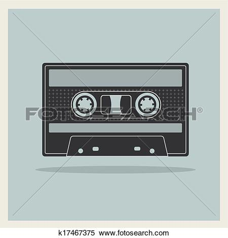 Clipart of Audio Compact Cassette Tape on Retro Background.