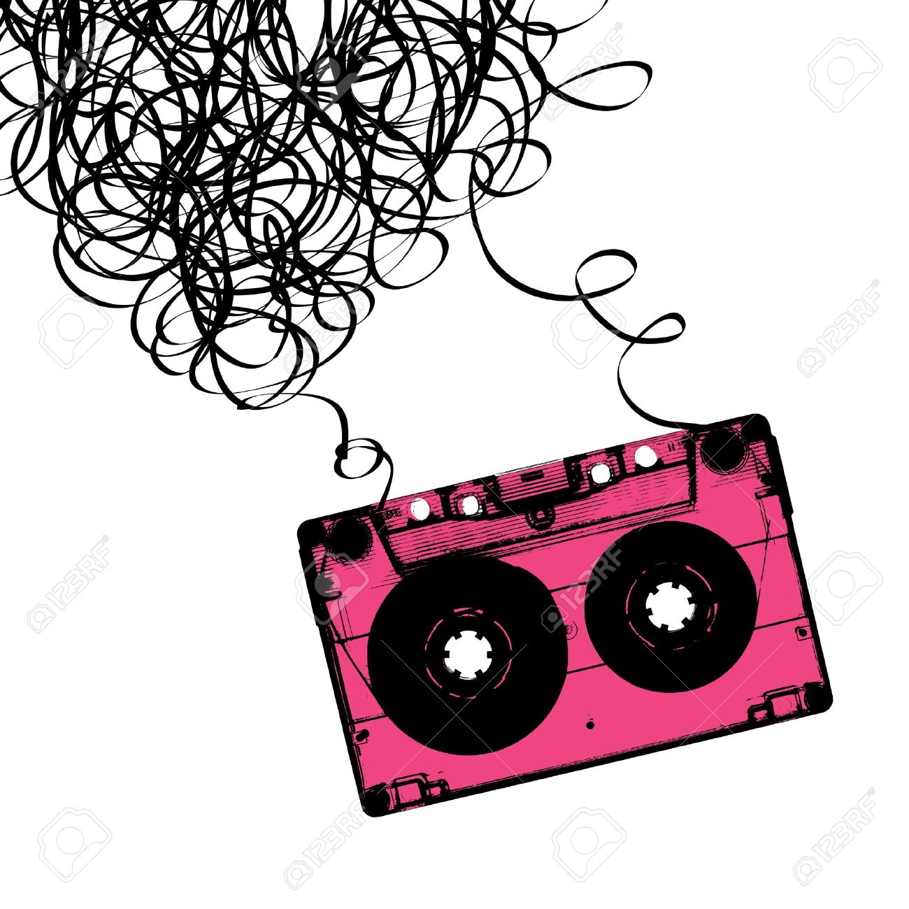 Audiocassette Tape With Tangled. Royalty Free Cliparts, Vectors.